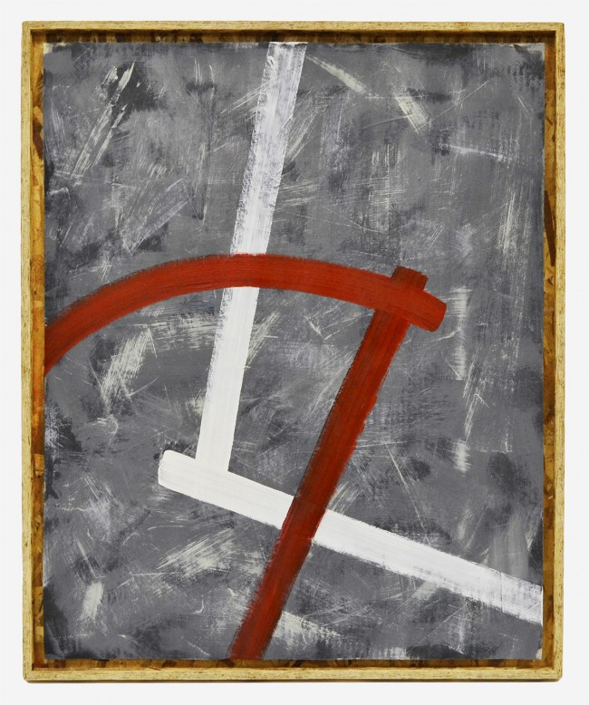 """Untitled 2008 Oil and enamel on paper in OSB frame 35.5 x 29.5 x 1.5"""""""